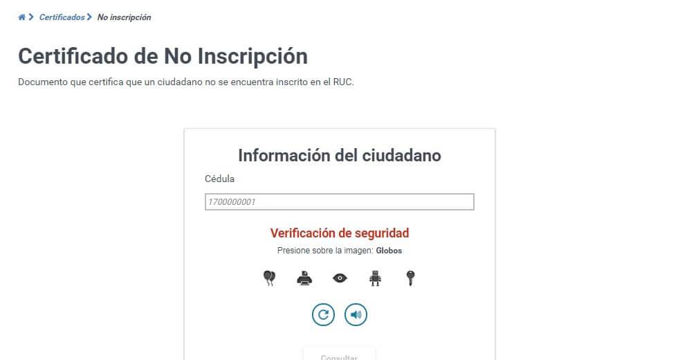 Certificado de no inscripción SRI