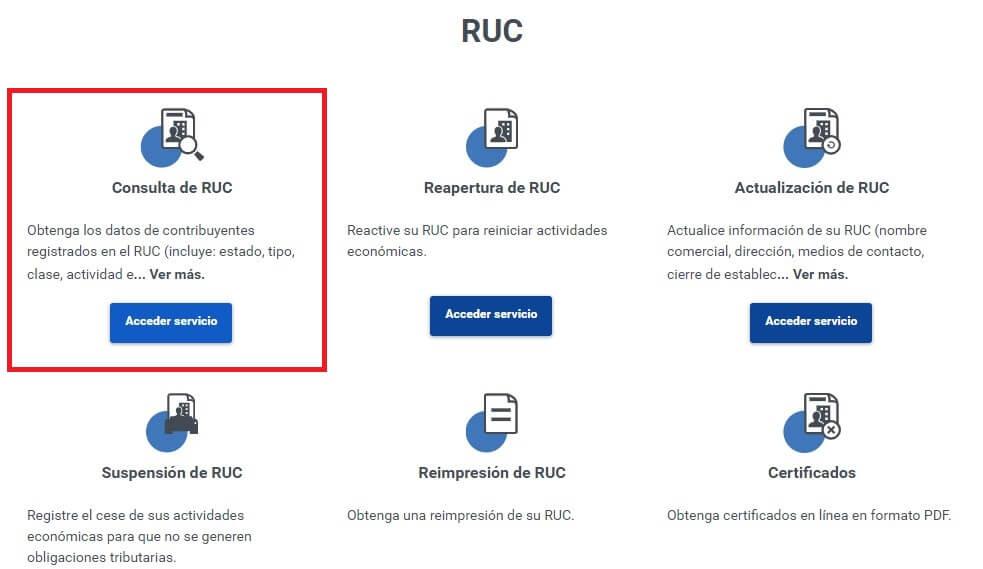 Servicios RUC de SRI en línea
