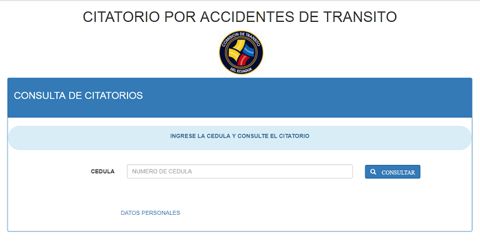 Citatorio por accidente de tránsito