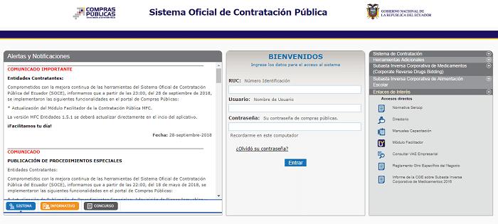 Sistema Oficial de Contratación Pública