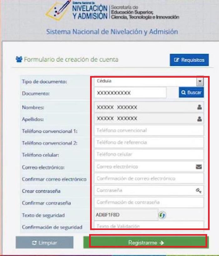 Formulario de datos SNNA cuenta