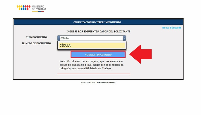 Portal web Ministerio