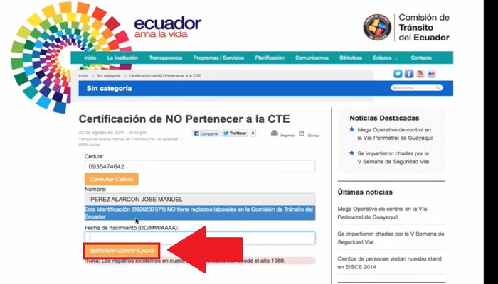 Generar certificado CTE