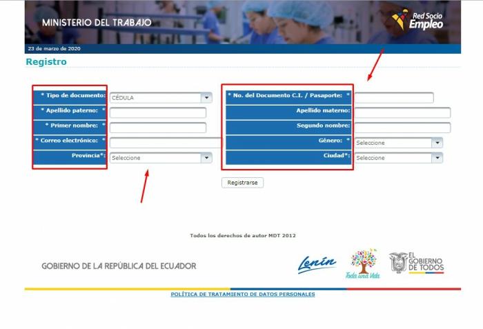 proceso de registro Socio Empleo