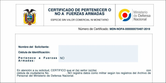 Certificado no Fuerzas Armadas