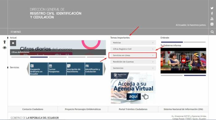 Servicios en línea número de cédula